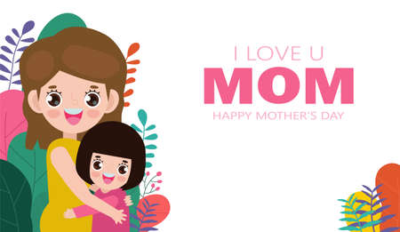 Happy Mother's day greeting card. Beautiful mother hugging daughter on flowers background, i love mom with holiday isolated Vector illustration modern flat style