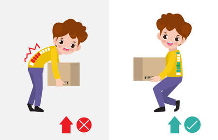 Correct lifting posture And incorrect Man lift wrong and right position. Disease back pain. Medical healthcare concept. Improper versus against proper lifting isolated on white background illustration