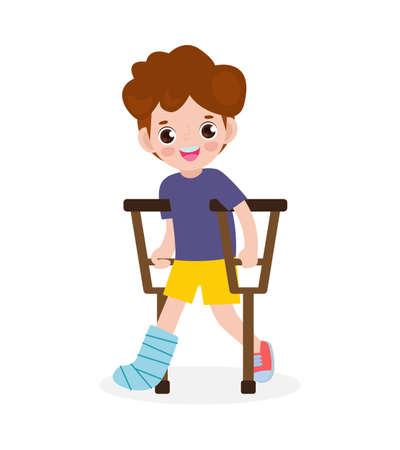 asian kid injured with broken leg in gypsum. little children standing on crutches, cartoon teen disabled character broken leg in plaster. isolated on white background Vector illustration Çizim