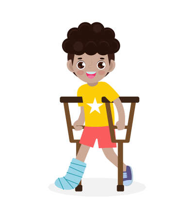 African-american children injured with broken leg in gypsum. little kid standing on crutches, cartoon teen disabled character broken leg in plaster. isolated on white background Vector illustration Çizim