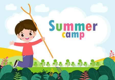kids summer camp background education Template for advertising brochure or poster, happy children doing activities on camping and jumping, poster flyer template, your text ,Vector Illustration