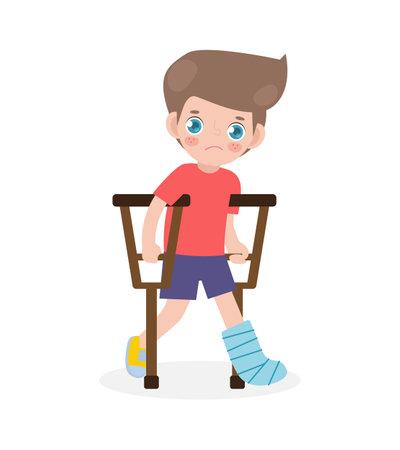 Caucasian sad kid injured with broken leg in gypsum. little children standing on crutches, cartoon teen disabled character broken leg in plaster. isolated on white background Vector illustration