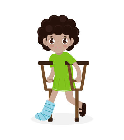 African-american sad children injured with broken leg in gypsum. little kid standing on crutches, cartoon teen disabled character broken leg in plaster isolated on white background Vector illustration 向量圖像