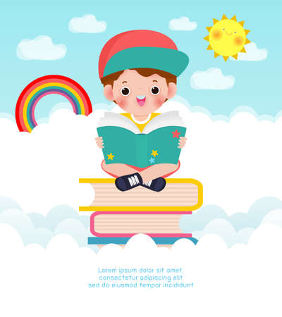cute little school children sitting and reading a book on stack of books High in the sky, happy pupil reading a book at a top of a books heap, kids back to school Flat Vector Illustration background
