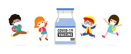 COVID-19 vaccine concept. happy kids jumping wearing face mask with Vaccine against corona virus (2019-nCoV)  group of children back to school isolated on white background vector illustration 向量圖像
