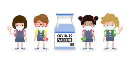 COVID-19 or coronavirus vaccine concept. happy kids of uniform wearing face mask with Vaccine against corona virus (2019-nCoV)  group of children back to school isolated on white background vector