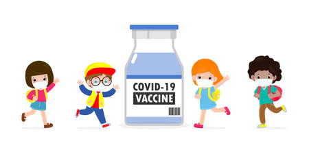COVID-19 or coronavirus vaccine concept. happy kids wearing face mask with Vaccine against corona virus (2019-nCoV) , group of children back to school isolated on white background vector illustration