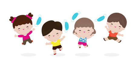 Happy Children jumping remove medical mask with Vaccine against COVID-19 or coronavirus, cute Kids mask group, the end of coronavirus 2019-nCoV Concept isolated on white background vector illustration 向量圖像