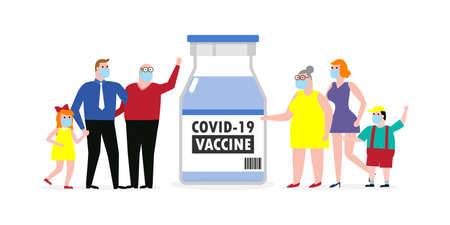 COVID-19 or coronavirus (2019-nCoV) vaccine concept. happy family wearing protective Medical mask with Vaccine vial against, Dad Mom Daughter Son isolated on white background vector illustration