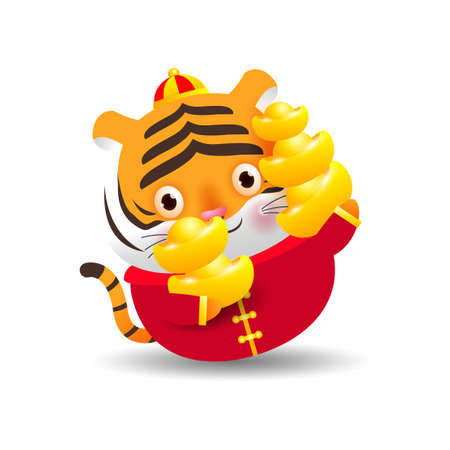 Happy Chinese new year 2022, Little tiger holding Chinese gold, the year of the tiger zodiac, Cartoon vector illustration isolated on white background.