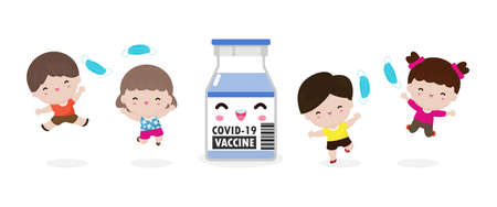 Happy Children jumping remove medical mask with Vaccine against COVID-19 or coronavirus 2019-nCoV, cute Kids mask group, the end of covid19 Concept isolated on white background vector illustration
