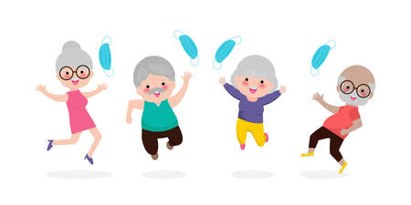 Happy old people jumping remove medical mask with Vaccine against COVID-19 or coronavirus, senior person mask group, the end of coronavirus 2019-nCoV Concept isolated on white background vector
