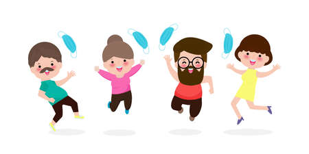 Happy people jumping remove medical mask with Vaccine against COVID-19 or coronavirus, hipster person mask group, the end of coronavirus 2019-nCoV Concept isolated on white background vector 向量圖像