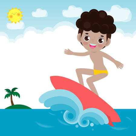 cute surfer people character with surfboard and riding on ocean wave. Happy young surfer guy on the crest wave, flat vector illustration isolated on background