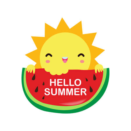 Hello Summer, sun holding a watermelon on have a fun summer time, Lounge time at the seaside. Summer vacation in flat cartoon isolated on white background vector illustration 向量圖像