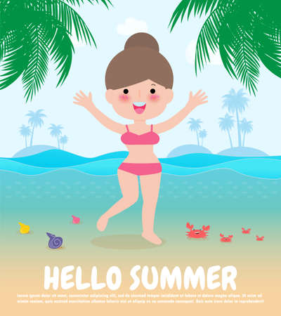 hello summer template banner, Young women jumping on have a fun summer time, Relaxing person at seashore, Lounge time at the seaside, Summer vacation flat cartoon on background vector illustration