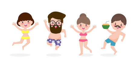 hello summer, Young women and men jumping on have a fun summer time, Relaxing couple person at seashore, Lounge time at the seaside. Summer vacation in flat cartoon isolated background vector 向量圖像