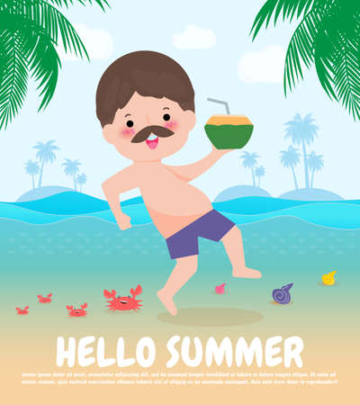 hello summer template banner, hipster man jumping on have a fun summer time, Relaxing person at seashore, Lounge time at the seaside, Summer vacation flat cartoon on background vector illustration 向量圖像
