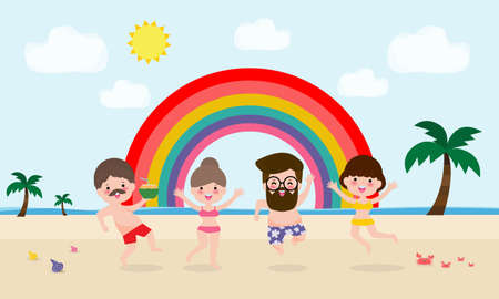 hello summer template banner, Young man and woman jumping on have a fun summer time, Relaxing person at seashore, Lounge time at the seaside, vacation flat cartoon on background vector illustration 向量圖像