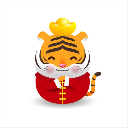Little tiger with holding chinese gold Ingots and Happy Chinese New Year 2022 year of the tiger zodiac of Animal lucks Cartoon vector illustration isolated on a white background.