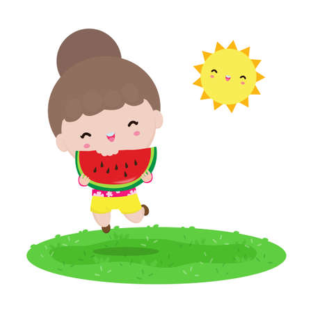 summer time template banner, Cute little kids holding watermelon and jumping feeling happy in hot sunny day vacation flat cartoon isolated on white background vector illustration