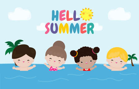 Hello summer banner template, Children swimming on the waves, Group of kids having fun on the beach, Summer time, Attractions concept, vacation flat cartoon on background vector illustration