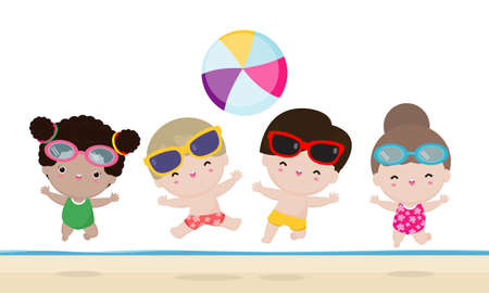 Hello summer banner template, Group of kids kids playing water volleyball on the beach, Children jump on the beach in summer time vacation flat cartoon isolated on white background vector illustration 向量圖像