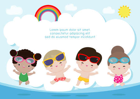 Hello summer banner template , Group of kids jumping on the beach, summer time, Relaxing children at seashore, Lounge time at the seaside, vacation flat cartoon on background vector illustration 向量圖像