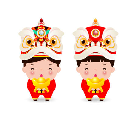Happy Chinese new year, china boy and girl in chinese costume and lion dance head, Cartoon children vector illustration isolated on white background
