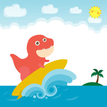 summer time banner template and cute surfer Dinosaur character with surfboard on the sea, dino surfer on the crest wave, poster party flat vector illustration isolated on background Ilustración de vector