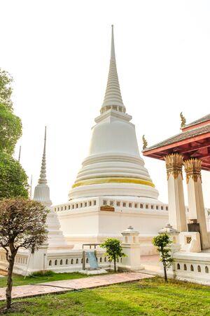 the white pagoda wat in ayutthaya of thailand