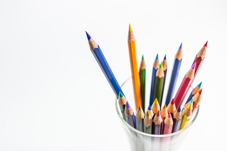 color pencils in cup on white background Stock Photo - 16228170
