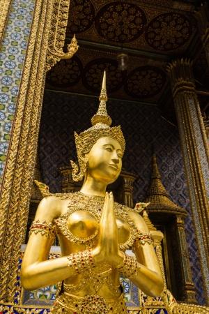 Golden female Garuda at the grand palace, Bangkok, Thailand