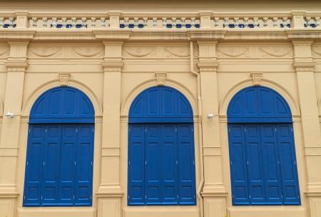 European style blue door of building