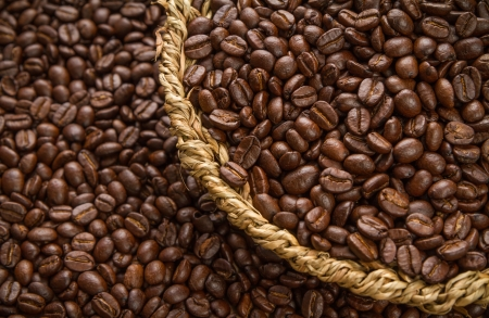 close up coffee bean in basket Stock Photo