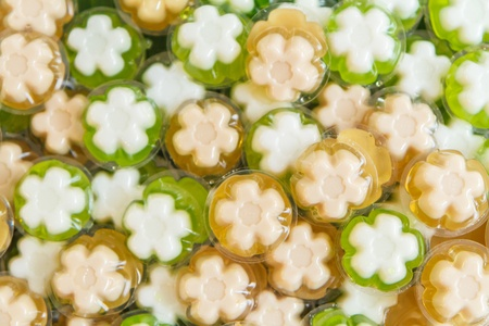 yellow and green jelly flower shape Stock Photo