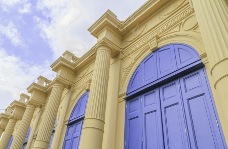 European style blue door of building in Grand Palace
