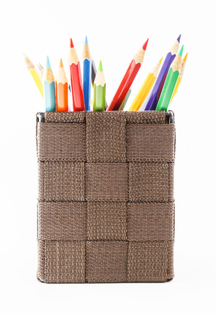 pen holder: Multi-colour pencils in a basket
