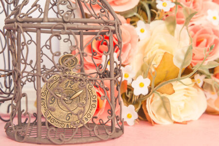 Close up accessories like form clock and rose love is memories  concept