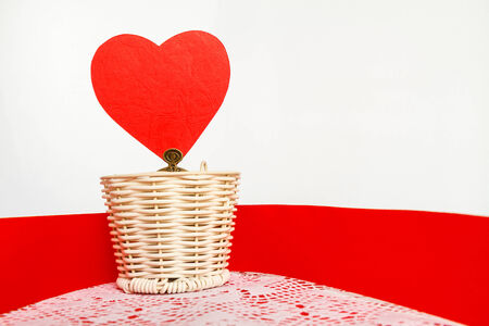 Red heart and white background
