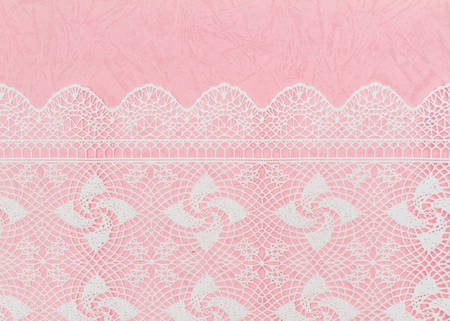 Pink paper textured background and white fabric pattern Stock Photo
