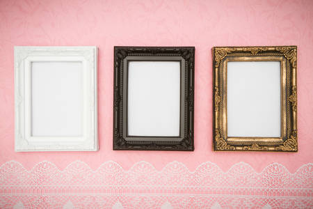 Vintage frame on pink background Stock Photo