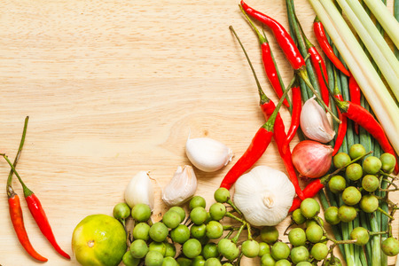 Ingredients for spicy Thai soup Tom Yam photo