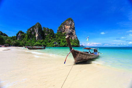 Traditional Thai boat, Long tail stand in the sea at Railay beach, Krabi, Thailand