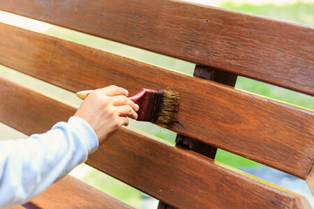 hand holding brush and paint timber photo