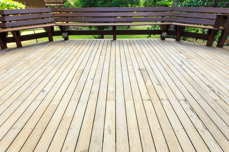 wooden decking in terrace Stock Photo