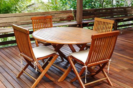 Teak wood furniture stand on the terrace