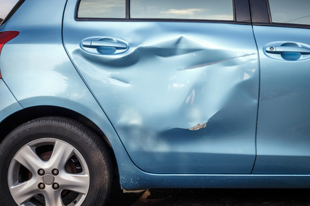 Body of car get damage by accident photo