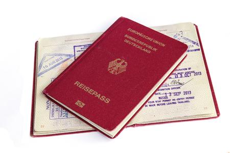 passports and visas isolated on white background photo