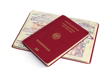 passports and visas isolated on white background photo